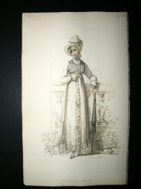 Ackermann 1814 Hand Col Regency Fashion Print. Promenade Dress 12-19